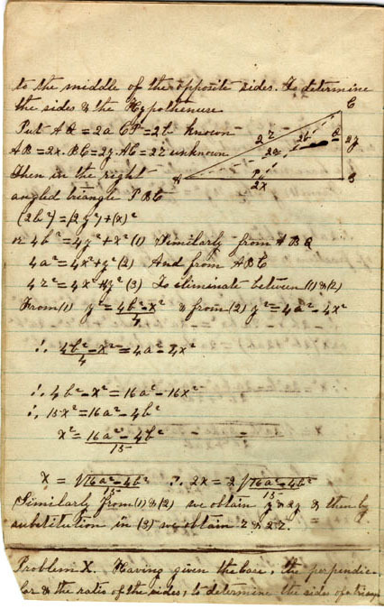 Unbound mathematics notebook, 1864