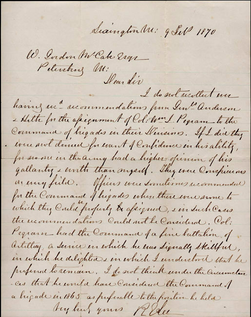 Robert E. Lee to William Gordon McCabe. 1870 February 9.