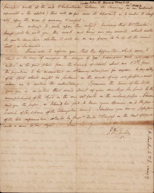 Autograph letter, signed. John Hartwell Cocke to Thomas Jefferson. 1819 May 3.