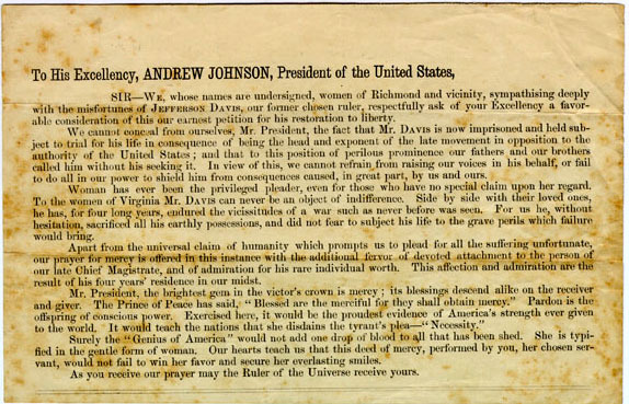 "1866 broadside, ""To His Excellency Andrew Johnson"""
