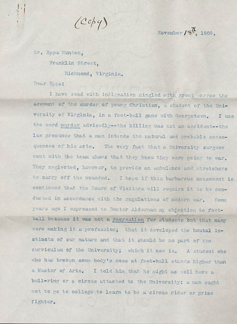 Typed carbon copy letter, signed. John Mosby to Eppa Hunton. 1909 November 18.
