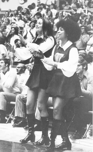 Photograph of University of Virginia cheerleaders. ca. 1971.