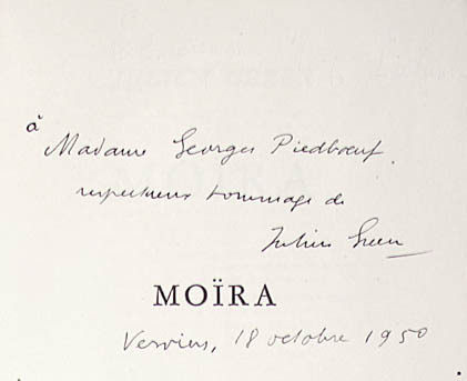 Julien Green. Moira. Paris: Librarie Plon, 1950.