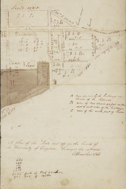 """A plan of the Lots laid off on the lands of the University of Virginia. Surveyed Nov. 15th, 1825. A. Broadhead, S.A.C."""
