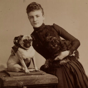 Lillian Marie Gary with her dogs, ca. 1888.