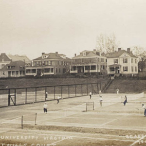 Postcard of tennis courts in Madison Bowl. ca. 1895.