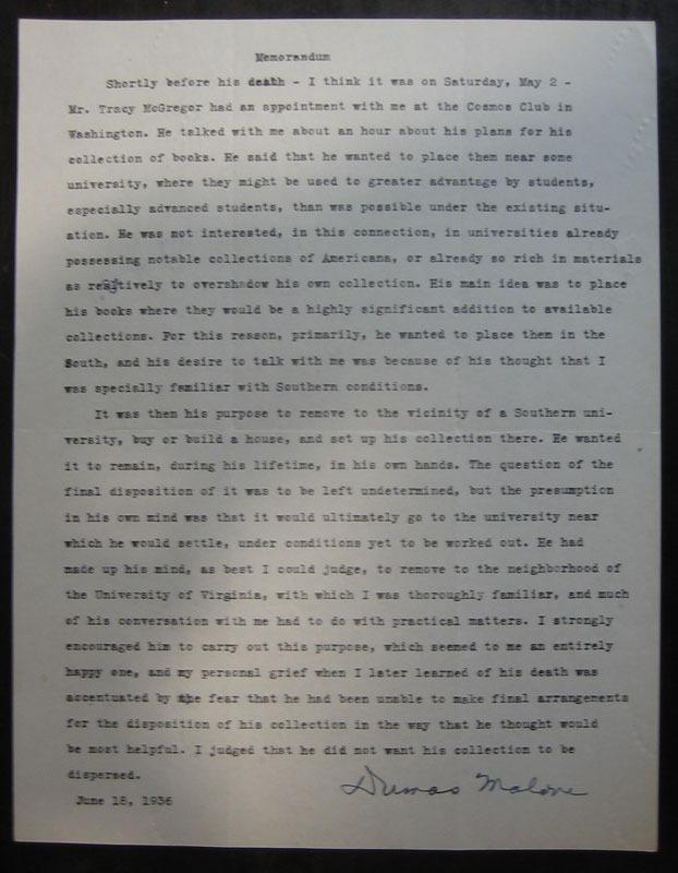 Dumas Malone, Memorandum, 18 June 1936.