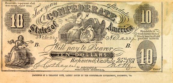 Ten-dollar Confederate treasury note (facsimile)