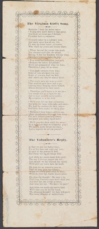 The Virginia girl's song. [Virginia?, ca. 1861-1865]
