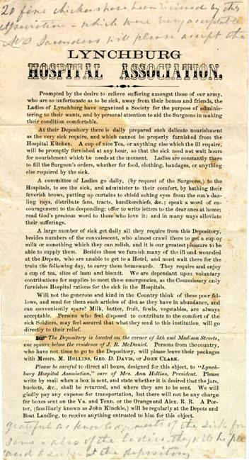 Printed solicitation, Lynchburg Hospital Association