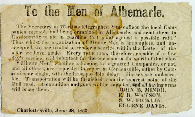 "Broadside, ""To the Men of Albemarle."" 1863 June 28."