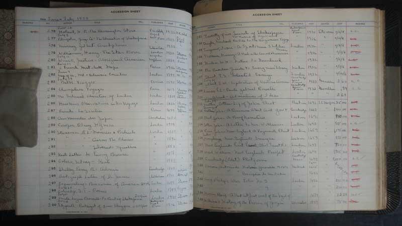 Tracy W. McGregor, Library accession book, 1933-1936.