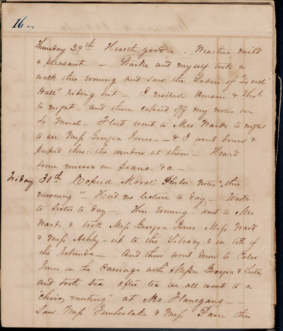 Walter Bowie, Jr. Student diary. 1852.