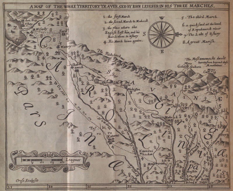 John Lederer, The discoveries of John Lederer in three several marches from Virginia, to the west of Carolina, 1672.