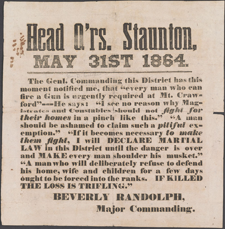 Confederate States of America. Army. Head Q'rs. Staunton …  [Staunton, Va.?, 1864]