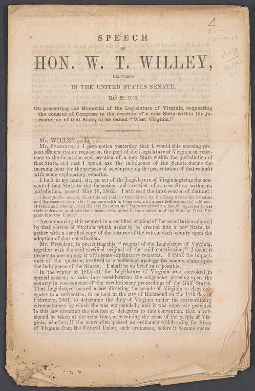 Waitman T. Willey, Speech … Washington, D. C.: Scammell & Co., 1862.