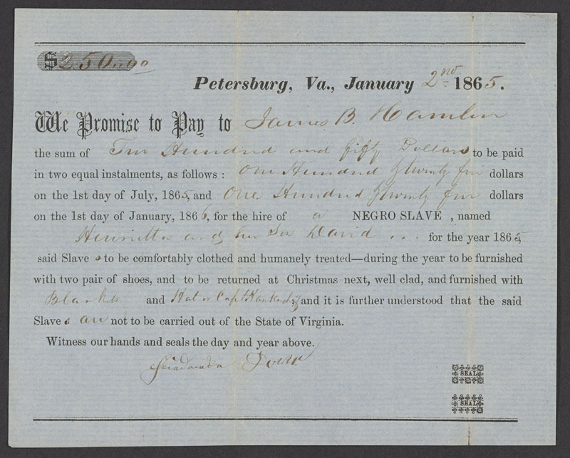 Promissory note hiring slaves, Petersburg, Va., 2 January 1865.