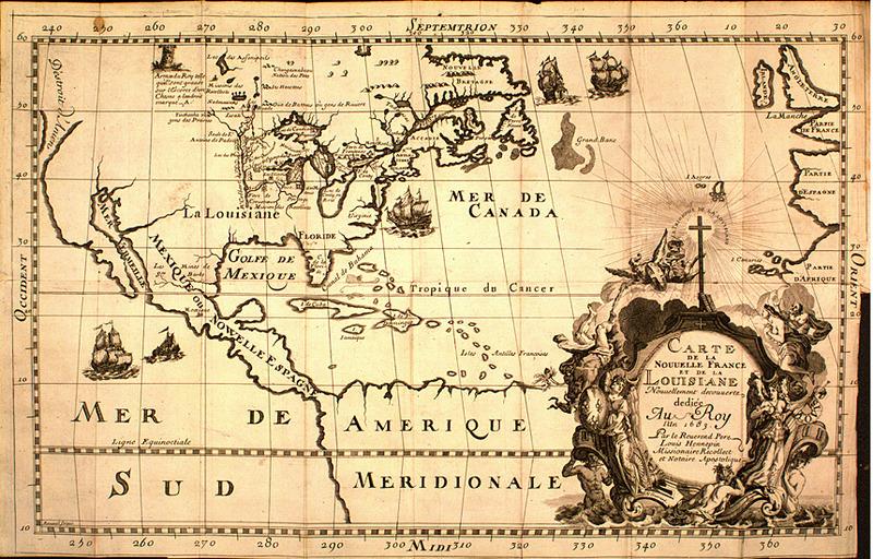 Carte de la Nouvelle France et de la Louisiane Nouvellement découverte. Hennepin. 1683