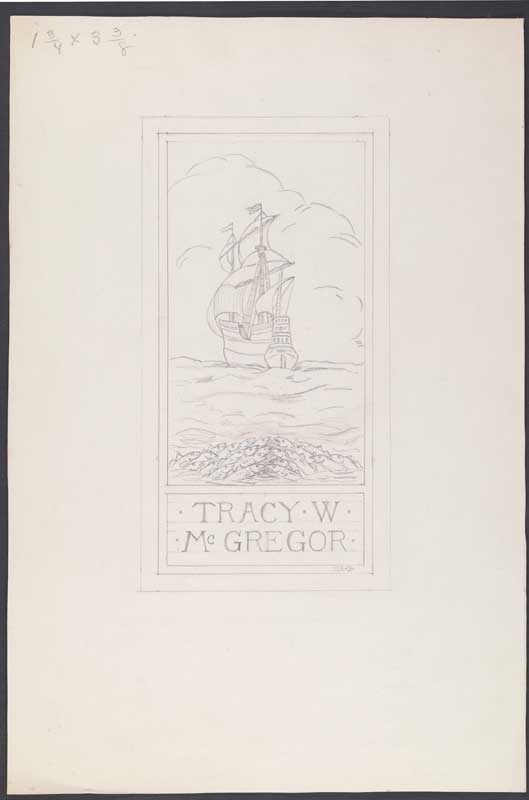 Hattie E. Burdette, Original pencil sketch for McGregor bookplate, 1933.