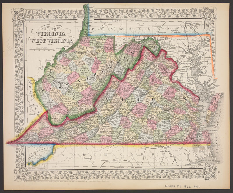 William H. Gamble, County map of Virginia and West Virginia. Philadelphia: [S. A. Mitchell?, 1866?]