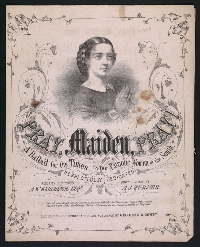 A. J. Turner and A. W. Kercheval, Pray, maiden, pray. Richmond, Va.: Geo. Dunn &amp;amp; Co., 1864.&lt;br /&gt;<br />