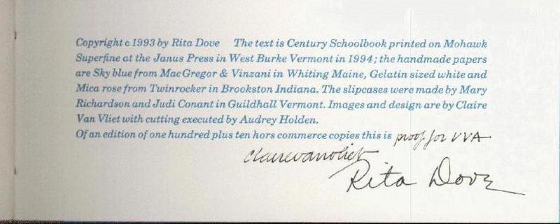 Rita Dove. Lady Freedom Among Us. Colophon (b)