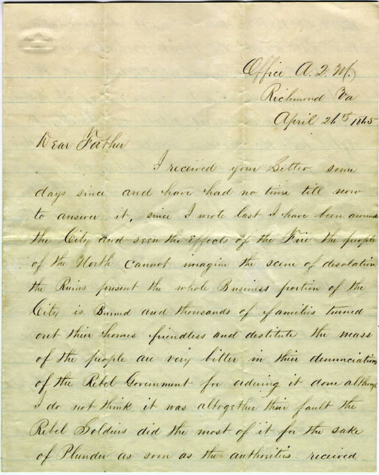 Chapin letter, 1865