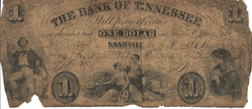One-dollar Bank of Tennessee (Nashville) note