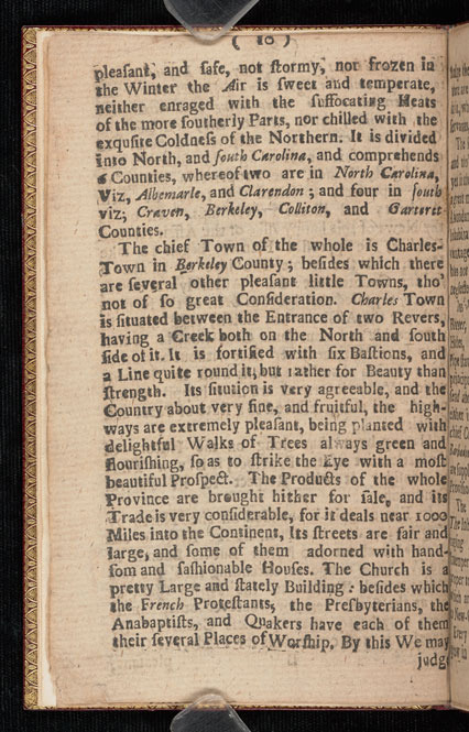 An historical description of Carolina North, and South, 1717.