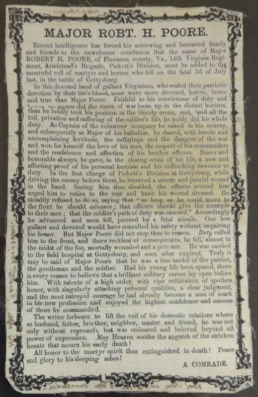A Comrade, Major Robt. H. Poore. [Richmond?, 1863]