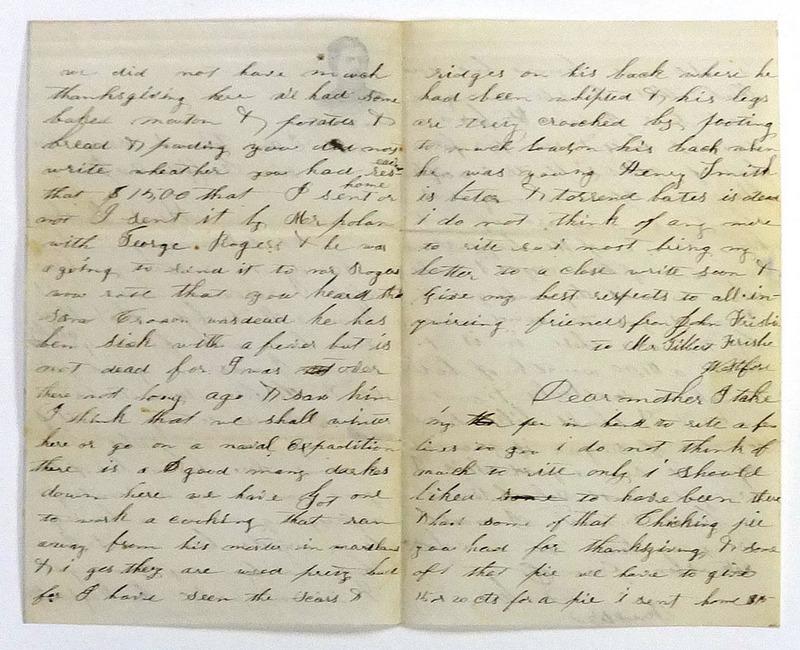 John Frisbie, Letter to Gilbert Frisbie, 6 December 1861.