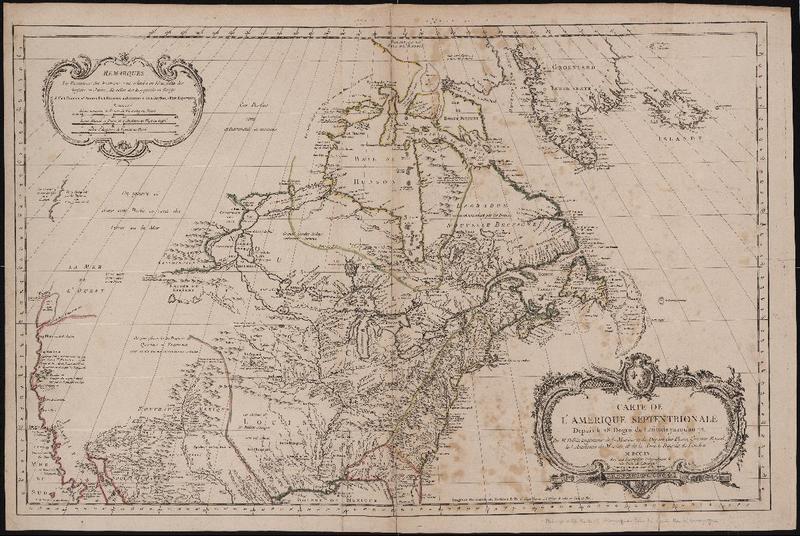 """Jacques Nicolas Bellin. """"Carte de l'Amérique Septentrionale Depuis 28 Degré de Latitude jusqu'au 72."""" 1755."""