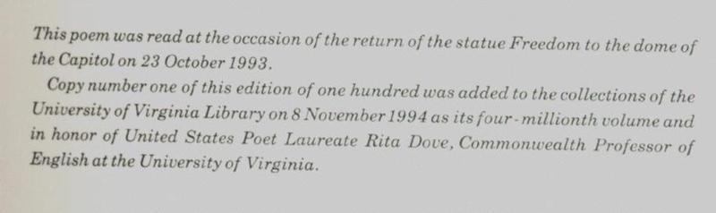 Rita Dove. Lady Freedom Among Us. Colophon (a)
