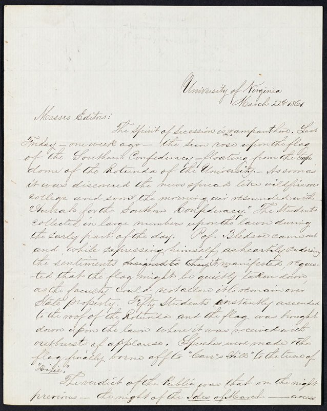 University of Virginia students, Letter to the editors of the Baltimore Exchange, 22 March 1861.