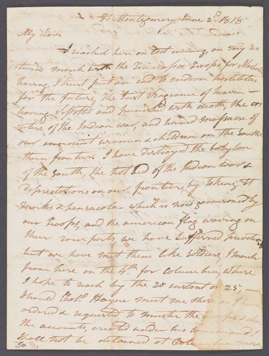 Andrew Jackson, Letter to Rachel Donelson Jackson, June 1818.