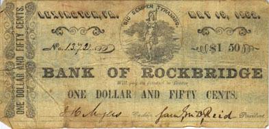 One dollar and fifty cents, Bank of Rockbridge, Lexington, VA