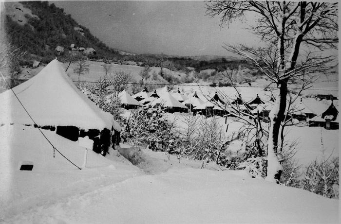 Photograph of Eighth Evacuation Hospital in winter at Pietramala, Italy. 1944-45.
