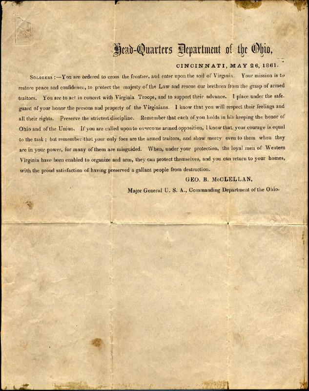 George B. McClellan, Head-Quarters Department of the Ohio... [Cincinnati, Ohio: U.S. Army, 1861]