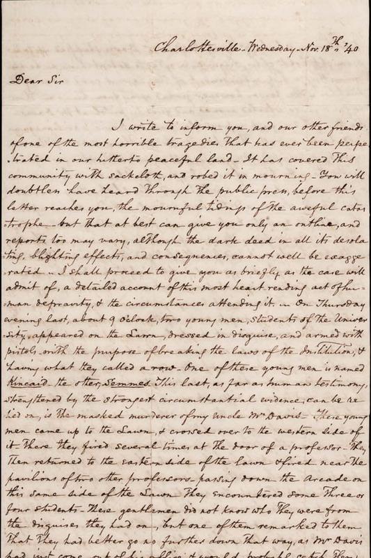 Autograph letter, signed. Peter Carr to Warrick Miller. 1840 November 18.