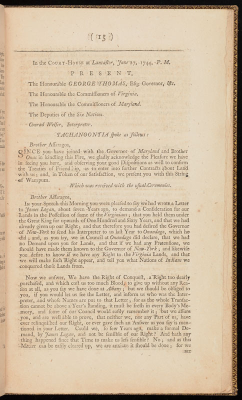 Pennsylvania, A treaty, held at the town of Lancaster, in Pennsylvania … with the Indians of the Six Nations, 1744.