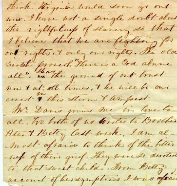 Davis letter, 1861