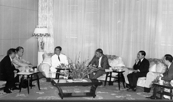 Photograph of Ngo dinh Diem, W. Averell Harriman, and Fritz Nolting at a conference in South Vietnam. 1961 September 20.