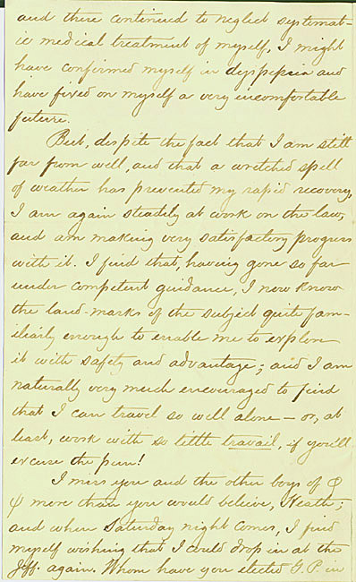 Autograph letter, signed. Woodrow Wilson to Richard Heath Dabney. 1881 February 1.