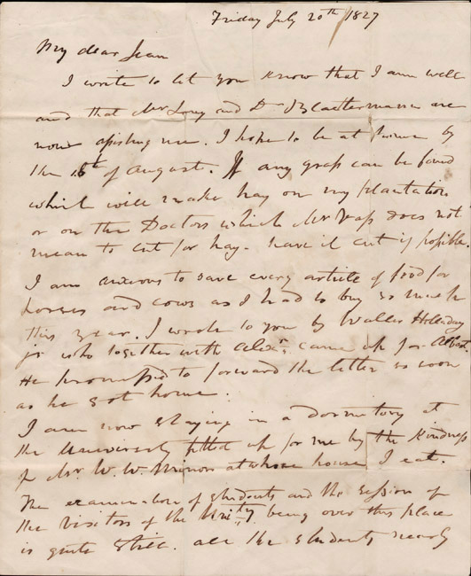 Autograph letter, signed. John Lewis to his wife, Jean. 1827 July 20.