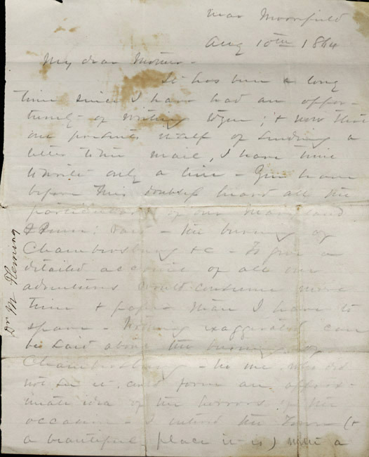 Autograph letter, signed. Malcolm Fleming to his mother. 1864 August 10.