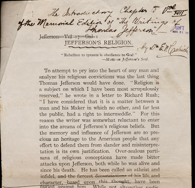 """Edward N. Calisch. Galley proof of """"Jefferson's Religion."""" 1903."""