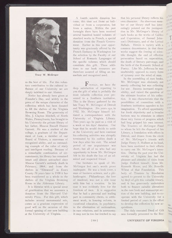 """Dedication of the Alderman Library,"" from University of Virginia Alumni News, August 1938"