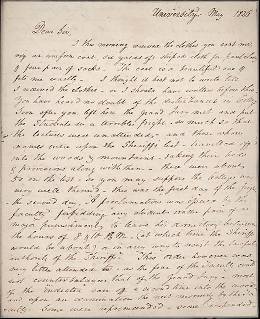 Autograph letter, signed. Edgar Allan Poe to John Allan. 1826 May. Courtesy of the Valentine Museum, Richmond, Virginia.