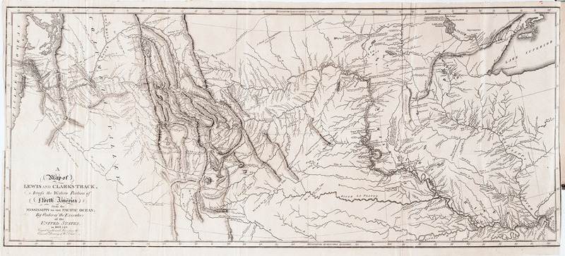 """A Map of Lewis and Clark's Track."" In History of the Expedition under the Command of Captains Lewis and Clark,...1814. The Tracy W. McGregor Library of American History"