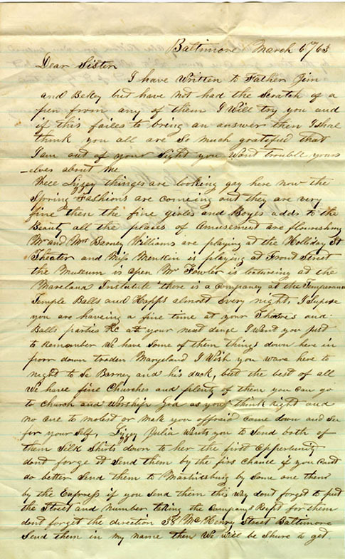 Letter from Baltimore, 1863